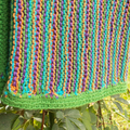 child's hand knitted pants. bright colours, cotton/acrylic blend yarn