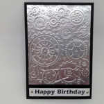 Birthday Card - Embossed Foil, Cogs and Gears