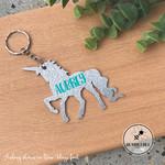 Silver Glitter Unicorn Bag Tag Personalised Name  Keyring Key chain