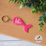 Pink Mermaid tail Kids Bag Tag Personalised Name  Keyring Key chain