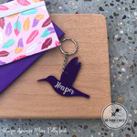 Purple Hummingbird Bird Kids Bag Tag Personalised Name  Keyring Key chain