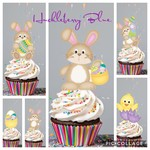 12 Premium Edible Wafer Card Cupcake Toppers - Easter, Bunny, Chick, Pre-cut