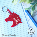 Red Glitter Unicorn Head Bag Tag