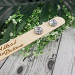 Silver Glitter Pops - Button Stud Earrings - Glass Dome