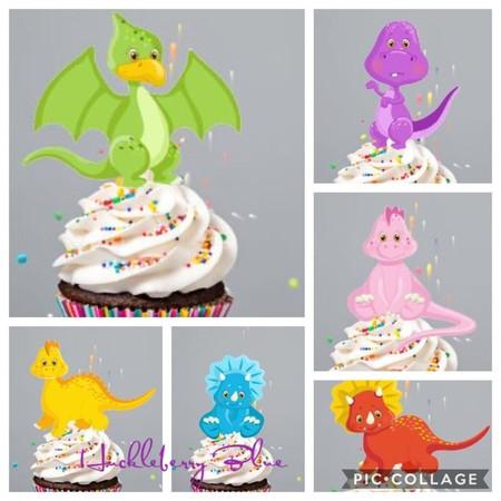 12 Premium Edible Wafer Card Cupcake Toppers - Baby Dinosaur, Pre-cut