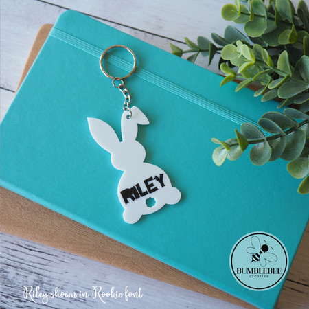White Bunny Kids Bag Tag Easter Rabbit Personalised Name  Keyring Key chain