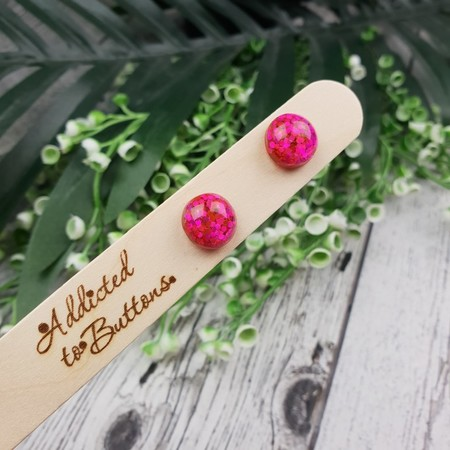 Pink Glitter Pops - Button Stud Earrings - Glass Dome