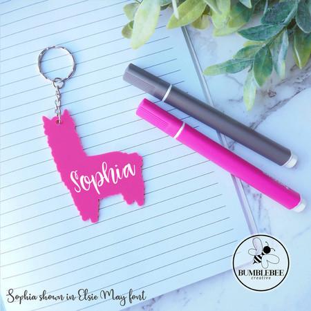 Pink Llama Kids Bag Tag Personalised Name  Keyring Key chain