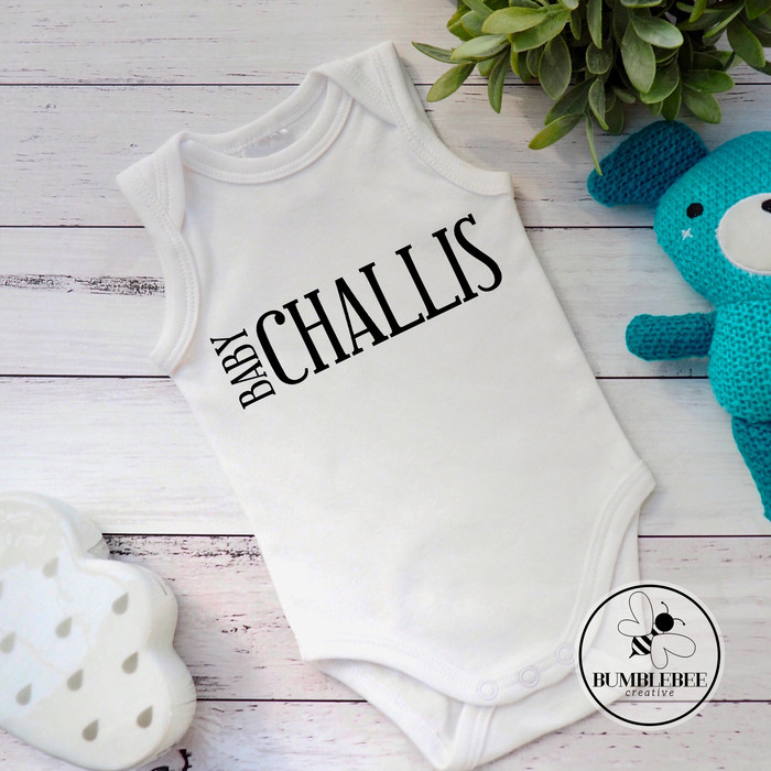 2b605144f 12 designs -Personalised Baby Name Surname Bodysuit, great new born baby  gift. | Bumblebee Creative | madeit.com.au