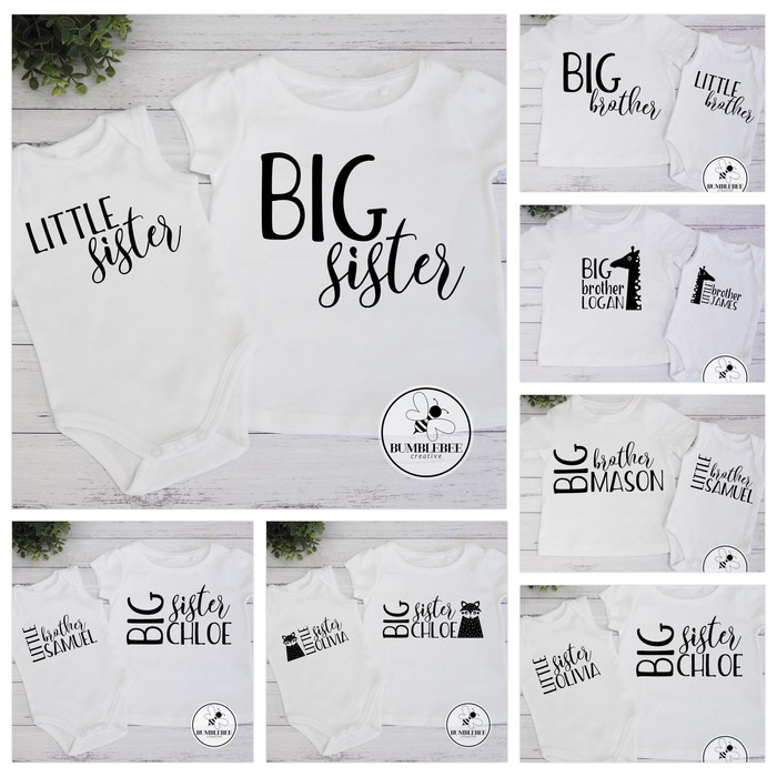 10 Designs Baby Sibling T Shirts Bodysuits Sets Sister Brother Big Little Bumblebee Creative On Madeit