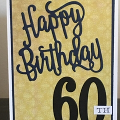 Happy 60th Birthday Handmade Card - FREE POST