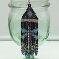 Dragonfly Bead Earrings Dangle Tassel Drop Fringe Boho Black Gold Purple