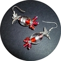 Silver birds on glass earrings