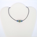 Boho Turquoise Nepal Focal Bead, African Recycled Glass beads, Leather Necklace