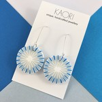 Polymer clay earrings, statement drop earrings in blue and white