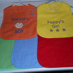EMBROIDERED BABY BIBS MIXED 6 MONTHS +