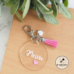 Mum Tassel and Charm Personalised Keyring Key chain Mothers Day Gift