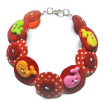 Red Button bracelet - Red Whales