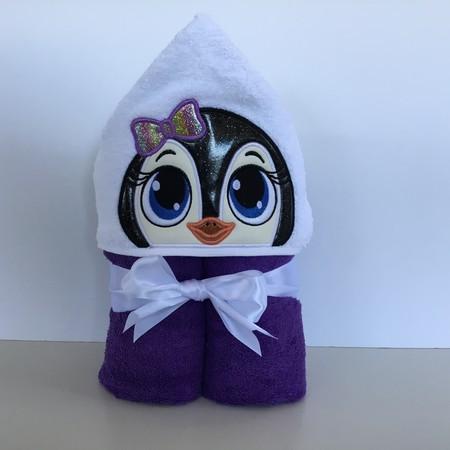 Girl Penguin Hooded Towel