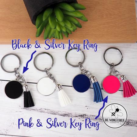 Pink, Black & Silver Enamel Circle Monogram Key Ring