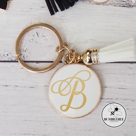 White Medium Gold & Enamel Circle Monogram Key Ring