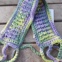Crocheted headband, collar or cuff. Greens and purples cotton 25% OFF!!