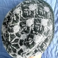 Pure Merino Wool Beanie, Fairisle Design, Green & Grey/Blue