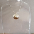 Crystal opal sterling silver textured round shield pendant, necklace, unisex
