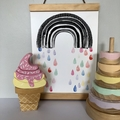 Handmade, wooden Ice Cream; with sprinkles and a gold cone. (7 Pce)