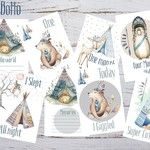 Baby Milestone Cards Boho Tribal Bear Boys Pack of 34 Cards  New Mum Baby Shower