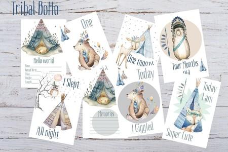 Baby Milestone Cards Boho Tribal Bear Boys Pack of 34 Cards  New Mum Baby Shower
