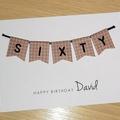 Male Happy Birthday card  - age - 40th 50th 60th - 4 styles