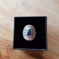 Black opal silver shield ring,   reticulated raising texture, size AU M, x small