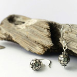 Bali bead oxidized sterling silver earrings