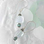 Sea green fluorite & sterling silver boho earrings