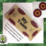 Two Crocheted Coasters in Maroon and Gold on a 'My Team' Presentation Card