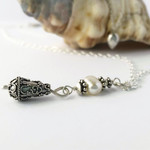 Layered boho chic sterling silver & pearl necklace
