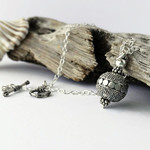 Sterling silver Bali bead oxidized necklace