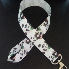 Black and white panda lanyard / ID holder / badge holder