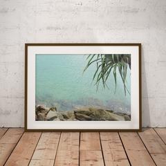 Peaceful blue water tropical print.