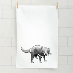 Tasmanian devil screen printed linen tea towel
