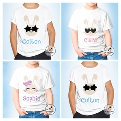 Bunny Face with Bow - or heart Glasses Personalised Kids Name Easter T-shirt.