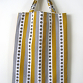 BUSHFIRE mustard olive white floral hatched print striped bag lined with calico