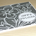 Female Happy Birthday card - Black and white floral
