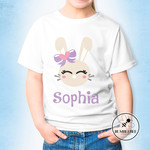 Bunny Face with Bow -Personalised Kids Name Easter T-shirt.
