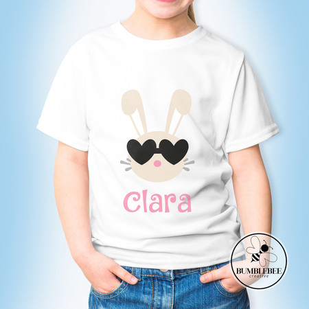 Bunny Face with Heart Glasses - Personalised Kids Name Easter T-shirt.