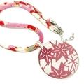 Kimono Necklace/Pendant -  Pink Florals