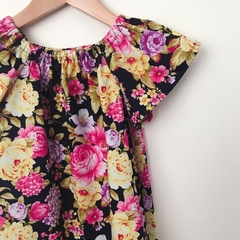 Size 3 - Smock Dress - Peasant Dress - Retro Floral - Navy - Pink -
