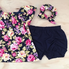 Size 2 - Smock Top - Navy Floral - Pink - Yellow