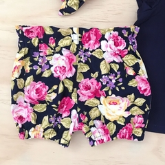 Size 1 -  Bubble Shorties - Navy Floral - Bloomers - Retro - Girls -